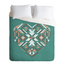 DENY Designs - Loni Harris Tribal Heart Duvet Cover - Turn your basic, boring down comforter into the super stylish focal point of your bedroom. Our Luxe Duvet is made from a heavy-weight luxurious woven polyester with a 50% cotton/50% polyester cream bottom. It also includes a hidden zipper with interior corner ties to secure your comforter. it's comfy, fade-resistant, and custom printed for each and every customer.