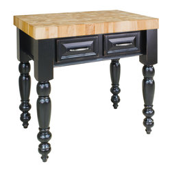"Distressed Black Island with Two Drawers - This island features two drawers on one side and decorative panel on the other. Drawers feature full extension soft-close slides.  Coordinating decorative hardware is included.  Maple grain butcher block top is 3"" thick."
