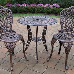 Oakland Living - 3 Pc Bistro Table Set in Antique Bronze - Tea - Set includes Bistro Table w Umbrella Opening and 2 Bistro Chairs. Made of Rust Free Cast Aluminum Construction. Easy to follow assembly instructions and product care information. Stainless steel or brass assembly hardware. Fade, chip and crack resistant. 1 year limited. Lightweight and constructed of rust-free cast aluminum. Hardened powder coat finish in Antique Bronze for years of beauty. Antique Bronze finish. Some assembly required. 26 in. W x 26 in. L x 26 in. H (46 lbs.)This three piece Bistro Set will be a beautiful addition to your patio, balcony or outdoor entertainment area. Bistro sets are perfect for any small space, or to accent a larger space.