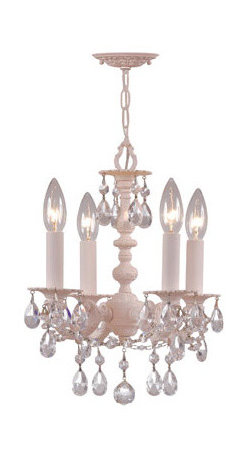 Crystorama Lighting Group - Paris Flea Market Blush Four-Light Chandelier with Clear Hand Cut Crystal, 13-In - - This Blush finished chandelier from the Paris Flea Market collection captures the energy of the Paris Flea Market and transfers it to wrought iron and Clear hand cut crystal creating casual yet elegant lighting Crystorama Lighting Group - 5514-BH-CL-MWP