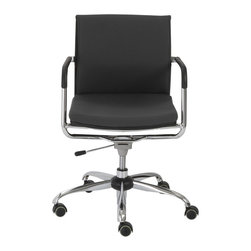 Eurostyle - Baird Office Chair-Gray/Chrome - 80% polyester