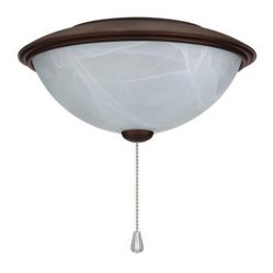 NuTone Alabaster Glass Contemporary Bowl Ceiling Fan Light Kit with Oil-Rubbed B