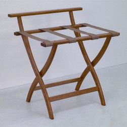 "Wooden Mallet - Luggage Rack w Standard Tan Webbing in Medium - Our unique ""Wall Saver"" feature prevents costly wall damage. Has multiple uses when it doubles as a breakfast tray holder or blanket stand. Folds flat and is easily stored in a closet or against a wall when not in use. Four 2 in. woven straps support heavy suitcases. Graceful, curved legs add a designer flair. Rated to hold suitcases up to 100 lbs.. Built using solid oak construction and state-of-the-art finish for heavy use and lasting beauty.  Made in the USA. No assembly required. All Wooden Mallet products are warranted for 1 year against defects in materials and workmanship. Overall: 29.5 in. L x 23.75 in. W x 18 in. H (7 lbs.). Open: 29.5 in. L x 23.75 in. W x 18 in. H. Closed: 29.5 in. L x 23.75 in. W x 4.5 in. HGive your guest room the feeling of a four star hotel with this beautiful luggage rack. Built using solid oak and sturdy webbing, even the heaviest suitcases are easily supported by the four 2 in. wide woven straps. Our unique ""Wall Saver"" feature prevents costly wall damage. This luggage rack has multiple uses when it doubles as a breakfast tray holder or blanket stand. These luggage racks fold and unfold easily. Take it out for guests, and then fold it up for easy storage. It is also a great in the master bedroom for packing suitcases for business trips or vacations."