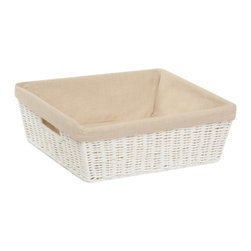 Honey Can DO - Parchment Cord Basket - With Liner, Natural - Our Paper Rope Shelf Tote with Liner, White. Keep clutter at bay with our paper rope shelf tote with liner. The recycled and repurposed parchment is formed into strap-like fibers, making the basket durable and eco-friendly. The built-in carrying handles make it easy to transport. This basket provides endless storage options for any room of the house and its neutral color matches any decor.