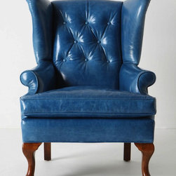 Howell Wingback - A blue leather wingback chair would make a statement piece in any bedroom, living room or office.