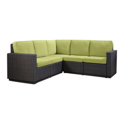 Home Styles - Home Styles Riviera Five Seat L Sofa in Green Apple - Home Styles - Outdoor Sofas - 580362 - Riviera Five Seat Sofa with Green Apple colored Fabric -Finally!!  An economical solution for upscale outdoor furniture��_.ready-to-assemble synthetic resin wicker. Body construction consists of Cycroplene a synthetic resin wicker in a deep brown color with a gold streak design woven over rust-resistant powder-coated aluminum frames.  Cycroplene is a 100% recyclable moisture and weather resistant low maintenance material.  All pieces feature shaped legs with adjustable levelers to accommodate uneven surfaces.  All seating pieces bolt together for additional support and sturdiness. Cushions fabric is stain resistant fade resistant water repellent and requires very little maintenance.
