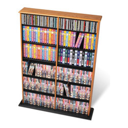 Prepac - Prepac Double Width CD DVD Wall Media Storage in Oak and Black - Prepac - CD & DVD Media Storage - OMA0640 - This library style multimedia storage unit with a central divider is designed to accommodate any combination of media in a medium-sized collection. It makes efficient use of space and boasts a considerable amount of storage. Fully adjustable shelves can be set to any position to accommodate your collection.