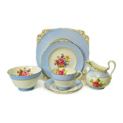 Lavish Shoestring - Consigned 6 Placements Blue Tea Set by New Chelsea, Vintage English, 1930s - This is a vintage one-of-a-kind item.