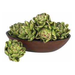 "Nearly Natural - 5"" Artichoke (Set of 6) - Not for outdoor use. Bowl not included. Unique artichokes to enhance any space. Great on any table or centerpiece. Sure to add a touch of class. 5 in. W X 5 in. D X 5 in. H (2lbs)The artichoke is an incredibly unique plant - it's both striking to look at, and it's delicious to boot! But even though you'll be tempted, don't eat these exact replicas of full, healthy artichokes. Perfectly flowered greens spread out, with their tips touting just a shade of maroon. This set of six will look great on any table or centerpiece, or really add a touch of class to a kitchen. Makes a great gift, too."