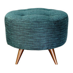 Mid-Century Inspired Upholstered Spool Ottoman - $325 Est. Retail - $250 on Chai -