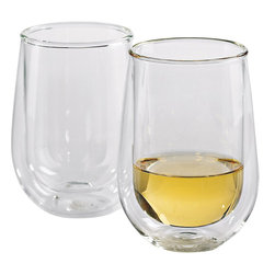 Wine Enthusiast - Wine Enthusiast Steady-Temp Double Wall Chardonnay/Chablis Stemless Wine Glasses - You like your whites at the perfect temperature, no matter how long you hold your glass. These double-walled stemless  glasses are just what you are looking for. The unique design provides extra insulation so your drink stays at just the right chill. Keep your hot drinks hot and your cold drinks cold in style.