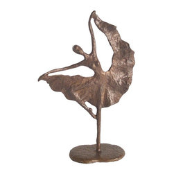 Danya B - Folkloric Dancer Figurine - Handcrafted. Casted using the sand casting method. For dance aficionado. Made from bronze. 7 in. L x 3 in. W x 11 in. H (2.20 lbs.)
