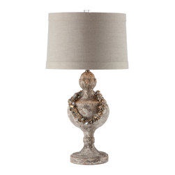 Kathy Kuo Home - Pair Coastal Beach Urn Table Lamp with Vintage Shell Collar Necklace - A chipped grey finish on the base is accented with subtle carvings and adorned with a removable shell necklace.