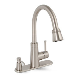 Premier - Essen Single-Handle Pull-Down Kitchen Faucet - Brushed Nickel - Premier Essen faucets add a look of refined elegance to any kitchen decor. Essen's luxurious pull-down kitchen faucet model blends state-of-the-art performance with cutting edge design. Simply rotate the spray head to adjust from adjust from a steady flow of 2.2 gallons per minute to a high-performance spray. The Essen pull-down kitchen faucet contains a versatile 24in. hose extension for complete sink coverage; cleaning and rinsing has never been easier. The Essen pull-down kitchen faucet in a fashionable brushed nickel finish includes a matching soap dispenser and extra deck plates for three-hole (dispenser on-deck) or four-hole sink applications. With all-brass construction and a trouble-free ceramic disc cartridge, this Premier faucet will be the focal point of your kitchen for years to come. It complies with the requirements of the Uniform Plumbing Code and the Americans with Disabilities Act. Its high-arc, swivel spout with an impressive height of 14-3/8 inches is especially effective for double-bowl sinks.