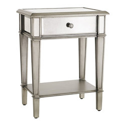 Hayworth Nightstand, Silver - This simple but classic nightstand adds just the right amount of glam to a space.