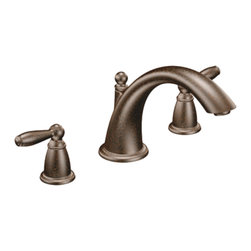 "Moen - Moen T933ORB Brantford Two-Handle Low-Arc Roman Tub Faucet (Oil Rubbed Bronze) - Moen T933ORB is part of the Brantford bath collection. Moen T933ORB has an Oil Rubbed Bronze finish. Moen T933ORB is a roman tub trim 3-hole 8"" - 16"" installation. Roman Tub faucet is a deck-mount with 6 3/4"" high and 8 1/8"" long low-arc spout for conventional styling. Moen T933ORB Roman Tub Trim fits the MPact common valve system, and requires Moen's 4992 or 4992 valve. Valve sold separately. Moen T933ORB is approved by ADA. Oil Rubbed Bronze is an exclusive finish from Moen and provides style and durability. Moen T933ORB metal lever handle meets all requirements ofADA ICC/ANSI A117.1 and CSA B-125, ASME A112.18.1M. Lifetime Limited Warranty and 5 Year commercial"