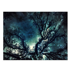 Studio D&K - Large Abstract Art Photography of the Starry Night Sky - Night Sky Abstract Art Photography on gallery wrapped canvas in vivid shades of teal, dark blue, black, and white.