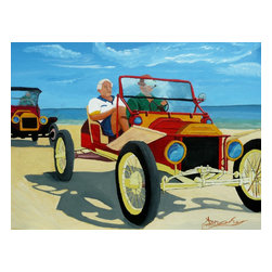 Granpas Racer, Original, Painting - Your love for vintage cars is illustrated in this endearing painting by Anthony Dunphy. The pipe smoking and lackadaisical demeanor of the men adds to this nostalgia evoking car race along the beach.