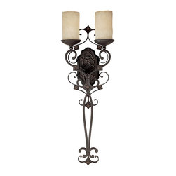 Capital Lighting - Capital Lighting River Crest Traditional Wall Sconce X-521-IR9091 - Decorate your home in style with this Capital Lighting River Crest Traditional Wall Sconce. It features a stunning frame in a rustic iron finish with gently flowing scroll work and two rust scavo glass shades. It's an impeccably designed, 33-inch-long piece that's suitable for a home with simple beauty and an understated elegance.