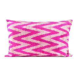 "Indigo&Lavender - 16"" x 24"" Silk Velvet Ikat Pillow, Hot Pink - Made from Ikat textiles that are loomed from hand-dyed silk in Uzbekistan, along Marco Polo�۪s renowned Silk Road, each pillow has been hand-sewn in Istanbul, Turkey. The goose down fill ensures extra luxury. Solid linen backing and zipper."