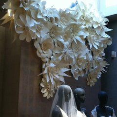 eclectic artwork Paper flower wall design at Bhldn - by Balushka