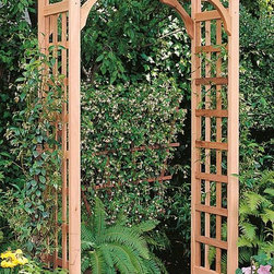 """Home Decorators Collection - Bancroft Rosedale Arch - The Bancroft Rosedale Arch features rich wood accents and is made in the USA. Each arch is crafted from premium-grade western red cedar using the same quality techniques as furniture construction. Bring these exceptionally durable and gorgeous archways to your outdoor escape today. Adjustable to three different widths (36"""", 42"""" and 48""""). Quality wood construction suits most outdoor settings and decor styles."""