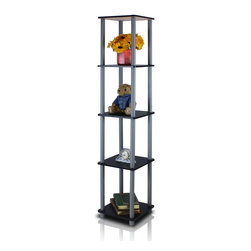 Furinno - Furinno 99132BK/GY Turn-N-Tube Corner Rack - Furinno Turn-N-Tube Home Living Mini Storage and Organization Series: 5-Tiers No Tools Tube Storage Shelving Unit . (1) Unique Structure: Open display rack, shelves provide easy storage and display for decorative and home living accessories. Suitable for rooms needing vertical storage area. Designed to meet the demand of low cost but durable and efficient furniture. It is proven to be the most popular RTA furniture due to its functionality, price, and the no hassle assembly. (2) Smart Design: Easy Assembly and No tools required. A smart design that uses durable recycled PVC tubes and engineered particleboard that withstand heavy weight. Just repeat the twist, turn and stack mechanism, and the whole unit can be assembled within 10 minutes. Experience the fun of D-I-Y even with your kids . (3) The  Particleboard is manufactured in Malaysia and comply with the green rules of production. There is no foul smell, durable and the material is the most stable amongst the particleboards. The PVC tube is made from recycled plastic and is tested for its durability. A simple attitude towards lifestyle is reflected directly on the design of Furinno Furniture, creating a trend of simply nature. All the products are produced and assembled 100-percent in Malaysia with 95% - 100% recycled materials.