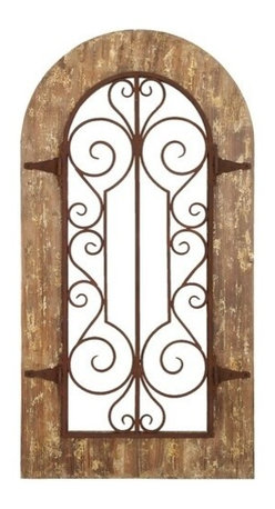 "Benzara - Wooden and Metal Wall Panel with Stately Design and Antiqued Look - Wooden and Metal Wall Panel with Stately Design and Antiqued Look. Bring home this lovely wall panel and you might get a little feel of bygone times and vintage charm. It comes with a dimension of 38"" H x 20"" W x 1"" D."