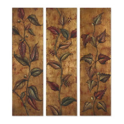 Uttermost - Uttermost 32156  Climbing Vine Art Panels Set/3 - This vibrant, earth tone artwork is hand painted on canvas that is stretched and mounted on hardboard frames. due to the handcrafted nature of this artwork, each piece may have subtle differences.