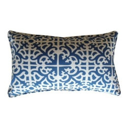 Jiti Malibu Blue 20 x 12 Rectangle Outdoor Pillow - Nothing beats a warm evening in southern California except maybe a patio decorated with the Jiti Malibu Blue Rectangle Outdoor Pillow. Bursting with a fresh coastal-inspired pattern this blue and white accent pillow is made in the USA with a 100% polyester cover and a comfortably supportive polyester-filled insert. And because we know how the outdoors can dirty the most durable fabrics this pillow is machine washable for your convenience.About Jiti Pillows:Jiti has a wide range of bedding and accent pillow products so you're sure to find the perfect complement for your home decor in their line. The company is based in Los Angeles California and all of their products are proudly made in America. Using luminous colors rich patterns and varied textures Jiti creates products that can help you give your room an exotic makeover in minutes. Goga Bouquet Jiti's designer gets her inspiration from her Argentine heritage and her fascination with Indian culture. The result is beautiful exotic pieces that still have a modern feel.