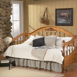 Traditional Twin Daybed in Brown Finish - This traditional solid wood daybed is finished in a warm medium distressed brown finish, which will blend beautifully with any decor for a calming look.