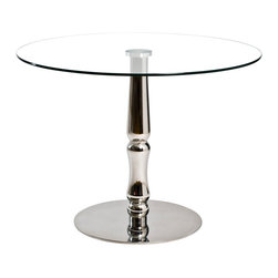Inmod - Aristocrat Round Table - Modern with a twist, this table is sure to suit your unique taste as well as your dining space. The ornately curved base of high-polished stainless steel makes for a distinctive look, and it's as sturdy as it is stylish, from top to bottom.