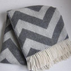Luxury Wool Throw Blanket Gray Chevron By Europeanwoolandlinen - What a cozy chevron throw.