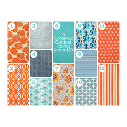 Outdoor Living Inspiration - We are loving these fun and affordable outdoor fabric selections!  They promise to hold up to the elements while injecting loads of color and style into any outdoor space.  These selections are by Kasmir, Pindler and Fabricut -- they also come in many different colors!