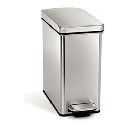 simplehuman - Profile Step Can - With its durable construction and slim profile, this trash can is perfect for your bathroom or home office. The easy-to-find pedal opens the top automatically, for hands-free operation. And the removable inner bucket can accommodate a plastic grocery bag or custom-fit liners for easy disposal.