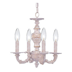 Crystorama - Crystorama Sutton 1 Tier Chandelier in Antique White - Shown in picture: Sutton Collection Wrought Iron Convertible Mini Chandelier; Sutton Collection's Antique White finish has a distressed gold brush strokes. This Paris Flea look is timeless and whimsical.