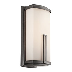 BUILDER - BUILDER Leeds Soft Contemporary/Casual Lifestyle Fluorescent Outdoor Wall Sconce - This Kichler Lighting outdoor wall sconce features a single rectangular accent and clean, modern lines that draw the eye up. From the Leeds Collection, it features a rich toned Anvil Iron finish that highlights the soft look of the satin etched cased opal glass shade. Meets Energy Star, Title 24 and Dark Sky requirements.
