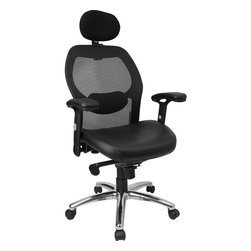 Flash Furniture - High Back Super Mesh Office Chair with Black Italian Leather Seat and Knee Tilt - This mesh office chair will comfortably accommodate your needs as a office or home office chair. Chair features a breathable mesh back with a comfortably padded seat. The silver accented back adds a touch of flair to highlight your work space.