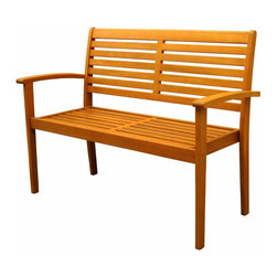 International Caravan - Contemporary Patio Bench - All weather resistant and UV light fading protection. Two persons sits comfortably. Easy to assembly. Made from pure yellow balau hardwood. Stain finish. Made in Vietnam. Assembly required. 48 in. L x 24 in. W x 36 in. H (44 lbs.)