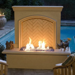 American Fyre Designs Arch Stone Firewall - With its classic design and spacious hearth, the American Fyre Designs Arch Stone Firewall looks as though you brought your home fireplace outdoors. This firewall is well-designed, with a tall hearth that doubles as propane storage. It's made of durable and lightweight fiberglass reinforced concrete so it's ideal in any climate. It comes in a neutral Cafe Blanco stone finish to complement any landscaping and is a breeze to assemble. Your kit includes the hearth/propane storage, body with back wall, and 30 pounds of reflective copper glass. Simply choose your fuel source (natural gas or liquid propane) and assemble on your existing concrete pad or backyard.Note: Review any building restrictions or construction permit requirements before installation of an outdoor fireplace. Contact your local zoning commission/homeowners association for details.Contact a licensed contractor for installation as this product may require connection to a natural gas line.About American Fyre DesignsR. H. Peterson Company, a premium gas product manufacturer, launched American Fyre Designs in 2013. This complete line of uniquely designed and handcrafted exterior fire features are meant to meet the growing demand for outdoor living products. Pre-fabricated exterior fireplaces, fire tables, urns, pits, walls and BBQ islands make up this unique line and each item is constructed of durable, lightweight glass fiber reinforced concrete. Everything in the American Fyre Designs line is made in the USA and follows strict quality standards using advanced technology.