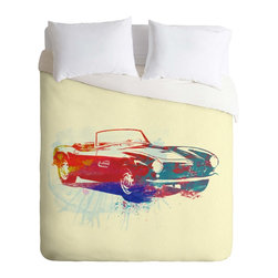 DENY Designs - DENY Designs Naxart BMW 507 Duvet Cover - Lightweight - Turn your basic, boring down comforter into the super stylish focal point of your bedroom. Our Lightweight Duvet is made from an ultra soft, lightweight woven polyester, ivory-colored top with a 100% polyester, ivory-colored bottom. They include a hidden zipper with interior corner ties to secure your comforter. It is comfy, fade-resistant, machine washable and custom printed for each and every customer. If you're looking for a heavier duvet option, be sure to check out our Luxe Duvets!