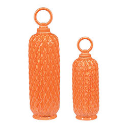 Sterling - Sterling 152-003/S2 Set Of 2 Lidded Ceramic Jars In Tangerine Orange - Sterling 152-003/S2 Set Of 2 Lidded Ceramic Jars In Tangerine Orange