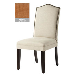 Home Decorators Collection - Custom Camel-Back Parsons Chair with Nailhead Trim - The elegant design of our Custom Camel-Back Parsons Chair with Nailhead Trim will enhance the look of your dining room, home office or living room. The gracefully arched back is accented with brass nailhead trim for a tailored look; the frame is supported by classically tapered legs. Choose from a wide variety of beautiful upholstery options. Assembled to order in the USA and delivered in approximately 8-10 weeks. Spot clean.