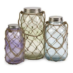 Marci Decorative Glass Jars - Set of 3 - This set of three Marci glass jars feature pastel hues and coastal inspired thin jute netting.