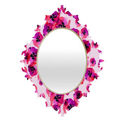 DENY Designs - Randi Antonsen Pink Flower Baroque Mirror - As we like to say around here, if it ain't baroque, don't hang it! With a sleek mix of baltic birch ply trim that's unique to each piece and a glossy aluminum frame, the baroque mirrors collection bumps your stylish reflection up a notch. Custom made in the USA for every order.