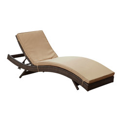 Modway Furniture - Modway Peer Chaise in Brown Mocha - Chaise in Brown Mocha belongs to Peer Collection by Modway Don't let moments of relaxation elude you. Peer is a serenely pleasant piece comprised of all-weather cushions and a rattan base. Perfect for use by pools and patio areas, chart the waters of your imagination as you recline either for a nap, good read, or simple breaths of fresh air. Moments of personal discovery await with this chaise lounge that has fold away legs for easy storage or stackability with other Peer lounges. Set Includes: One - Peer Lounge Chaise Lounge (1)