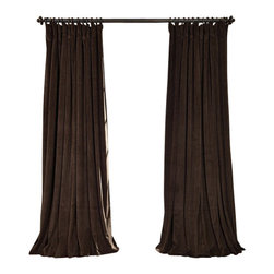 Exclusive Fabrics & Furnishings, LLC - Signature Java Doublewide Blackout Velvet Curtain - 100% Poly Velvet. 3 Pole Pocket. Plush Blackout Lining. Imported. Dry Clean Only.