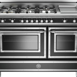 "Bertazzoni 48"" Range HER486GGASNE Heritage Series Black Natural Gas - 48"" Traditional-Style Gas Range with 6 Sealed Brass Burners from Plessers.com with 3.6 cu. ft. Main Convection Oven, Manual Clean, Electric Griddle and Storage Compartment - See more at:  http://www.plessers.com/Bertazzoni/her486ggasne.htm"