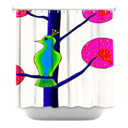 DiaNoche Designs - Shower Curtain - China Carnella Pretty Bird - DiaNoche Designs works with artists from around the world to bring unique, artistic products to decorate all aspects of your home.  Our designer Shower Curtains will be the talk of every guest to visit your bathroom!  Our Shower Curtains have Sewn reinforced holes for curtain rings, Shower Curtain Rings Not Included.  Dye Sublimation printing adheres the ink to the material for long life and durability. Machine Wash upon arrival for maximum softness. Made in USA.  Shower Curtain Rings Not Included.