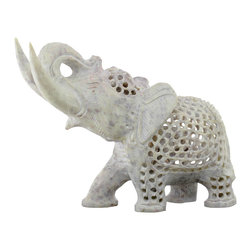 SouvNear - Mother Elephant with Baby Nested Inside her Tummy - Openwork Soapstone Sculpture - * An intricately hand-carved mother elephant with a baby nested inside her tummy & one baby nested inside the baby elephant. Great gift for expecting mothers